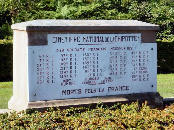 Nécropole nationale du col de la Chipotte : régiments de 349 soldats disparus (site artois1418.skyrock)