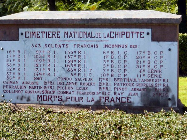 Nécropole nationale du col de la Chipotte : régiments de 543 soldats disparus (site artois1418.skyrock)