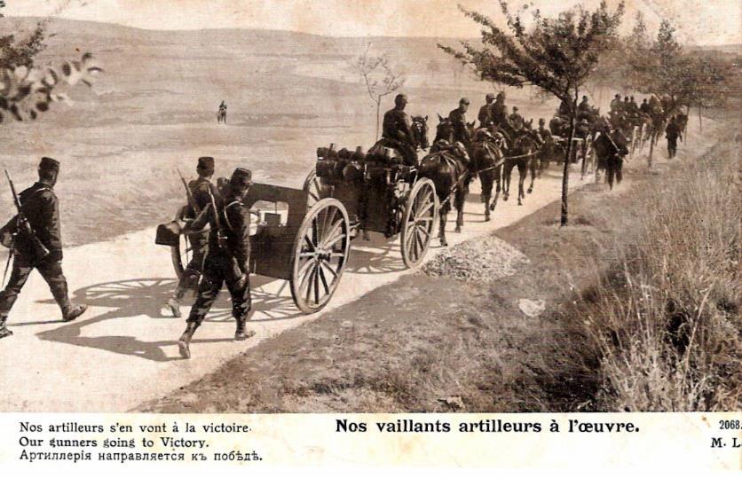 « Nos vaillants artilleurs ». Carte postale envoyée à Passy par Félix Grux, artilleur, le 25 janvier 1917 (doc. famille Devillaz)