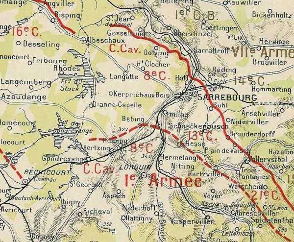 Région de Sarrebourg : le Corps de cavalerie est indiqué en haut de la carte(site artois1418.skyrock)