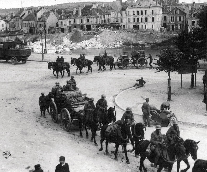 U.S. Field Artillery in Chateau-Thierry (Site Wikipedia, art. Cheval Durant la Première guerre mondiale)