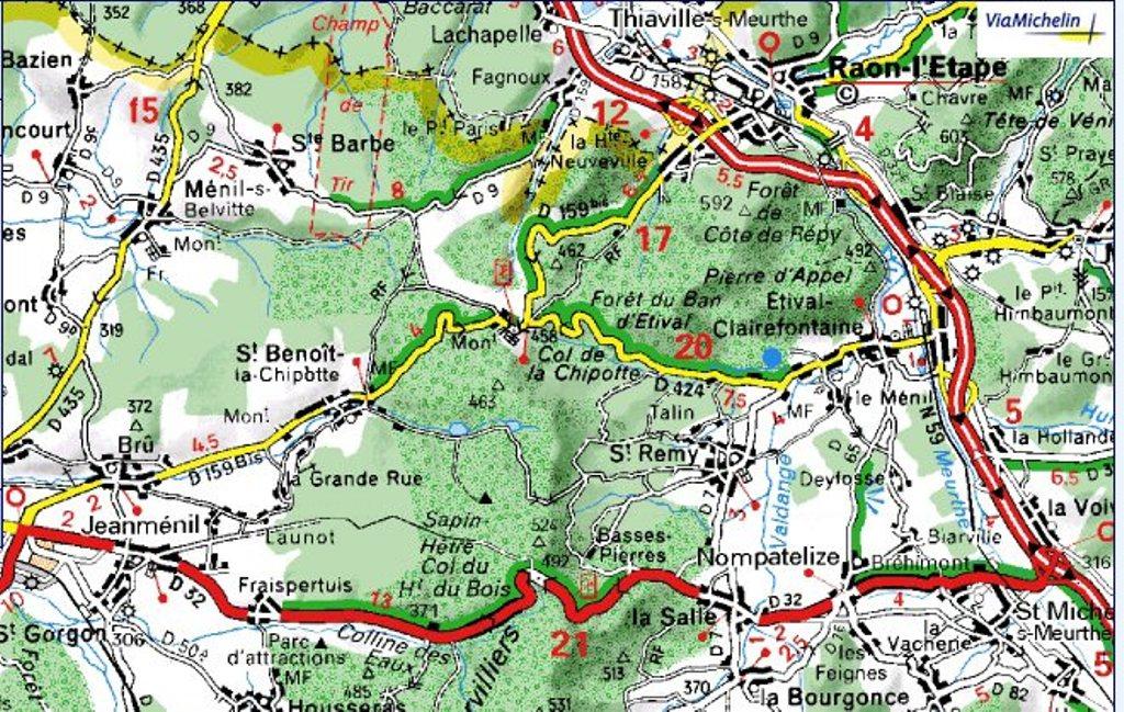 Carte actuelle de St-Benoît-la-Chipotte et du col de la Chipotte ; le Ménil en bas à droite au sud de Raon-l'Etape (site jpierre.daganddagand.free)