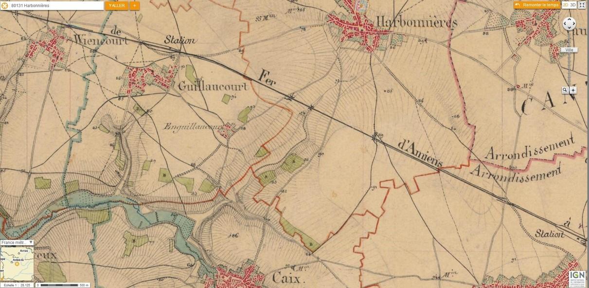 La voie ferrée d'Amiens, près d'Harbonnières (carte Cassini du secteur, Internet)
