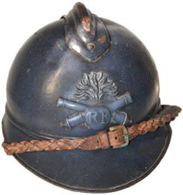 Casque Adrian d'officier d'artillerie : grenade brochant sur deux canons croisés (site world-war-helmets.com)