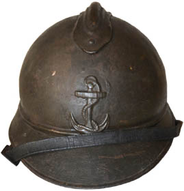 Casque Adrian de troupe de marine : ancre (site world-war-helmets.com)