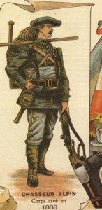 Chasseur alpin en 1888 (site Musée militaire de Lyon)
