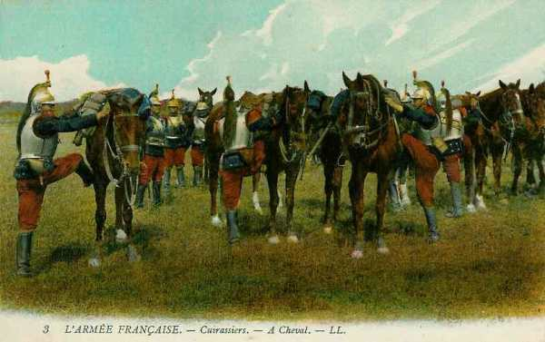 Cuirassiers montant en selle (site sambre-marne-yser.be)