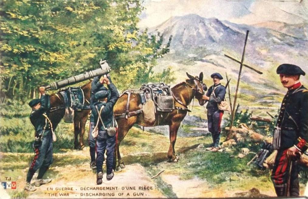 Déchargement d'une pièce de montagne (site Delcampe)
