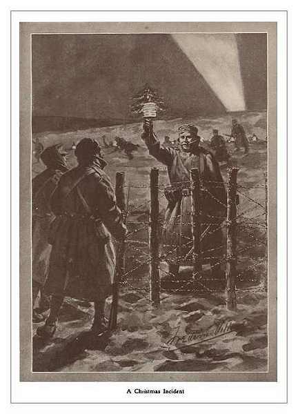 Des Allemands approchant les lignes-anglaises le 25 décembre 1914, paru dans The Illustrated War Record (site cheminsdememoire-nordpasdecalais)