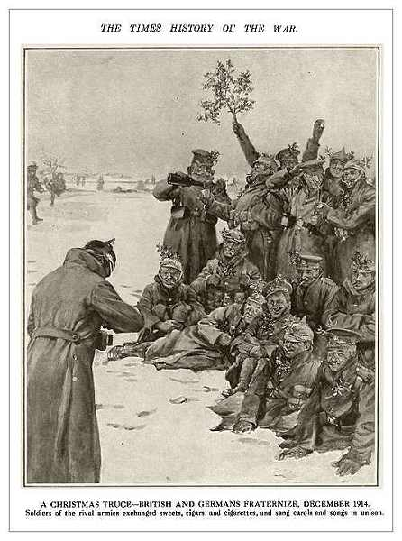 Scène de fraternisation le jour de Noël 1914, Noël 1914-dessin The Times history and Encyclopedia of the War  (Site cheminsdememoire-nordpasdecalais)