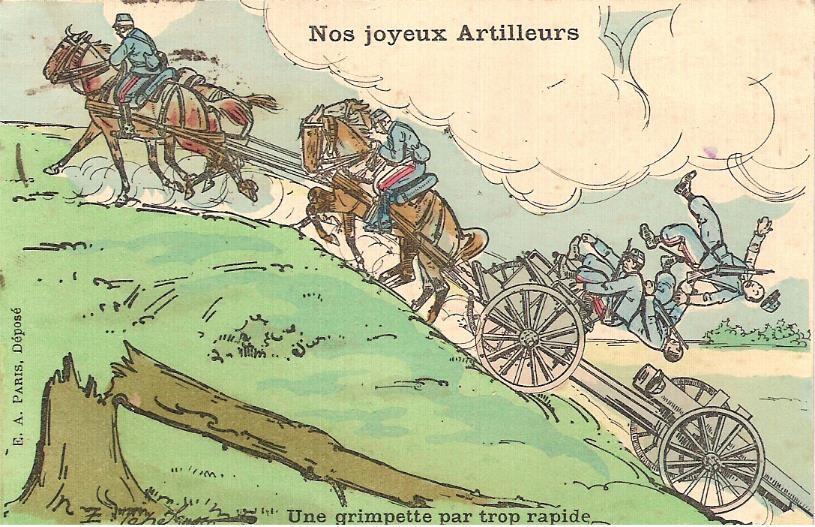 Une vision humoristique du rapport entre le cheval et l'artilleur. Carte postale envoyée à Passy par Félix Grux, artilleur, le 30 décembre 1916 (Doc. famille Devillaz)