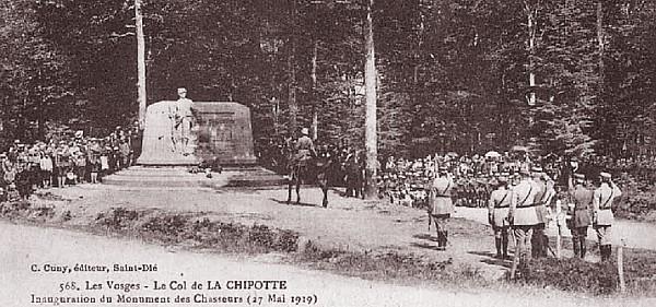 Inauguration du monument au col de la Chipotte le 17 mai 1919