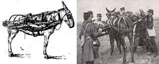 Mulet portant des litières (site actualites-grande-guerre.blogspot)
