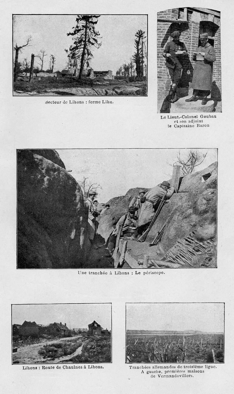Planche de photos sur le secteur de Lihons (site souvenirs du 140ème RI)