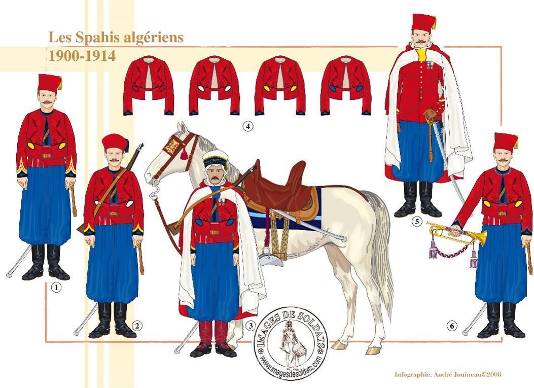 Planche de spahis algériens 1900-1914 (site spahis.fr)