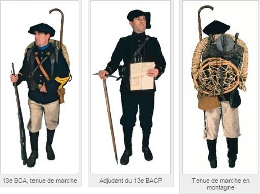 La tenue des chasseurs à pied (Site mémoire-des-alpins, rubrique Historique des troupes alpines)
