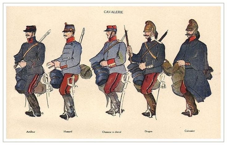 Les différents uniformes de la cavalerie française au début de la Grande Guerre (site scrapironflotilla)