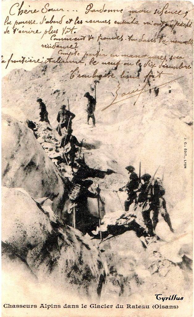 Chasseurs alpins avec leurs raquettes dans le glacier du Rateau dans l'Oisans, J.C., Edit., Lyon (site cparama.com)