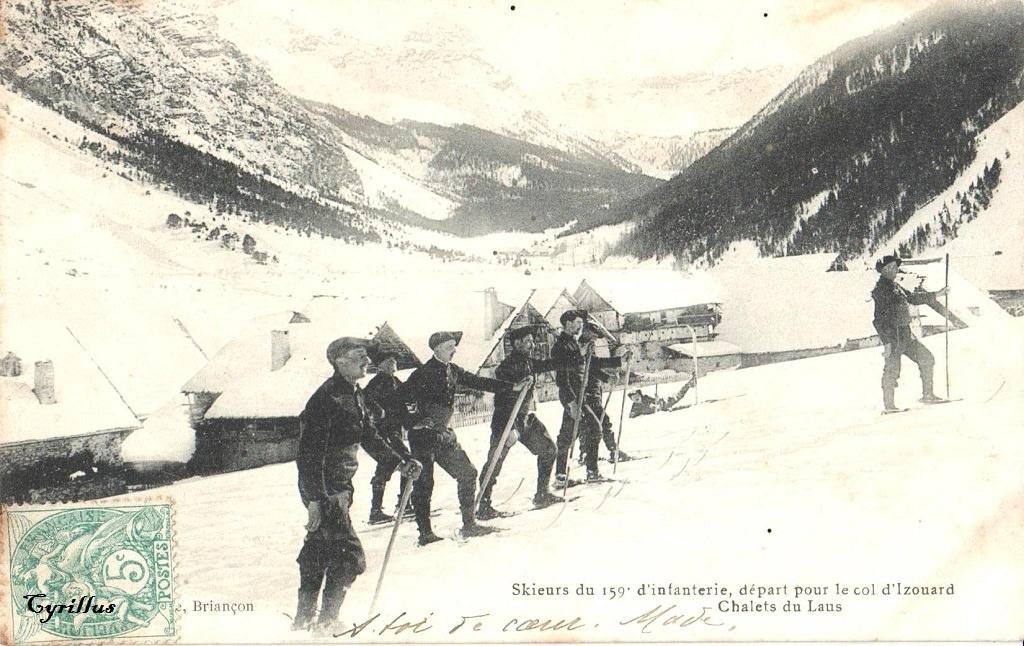 Skieurs du 159° d'Infanterie, départ pour le col d'Izouard - Chalet du Laus 2878 (site cparama.com)