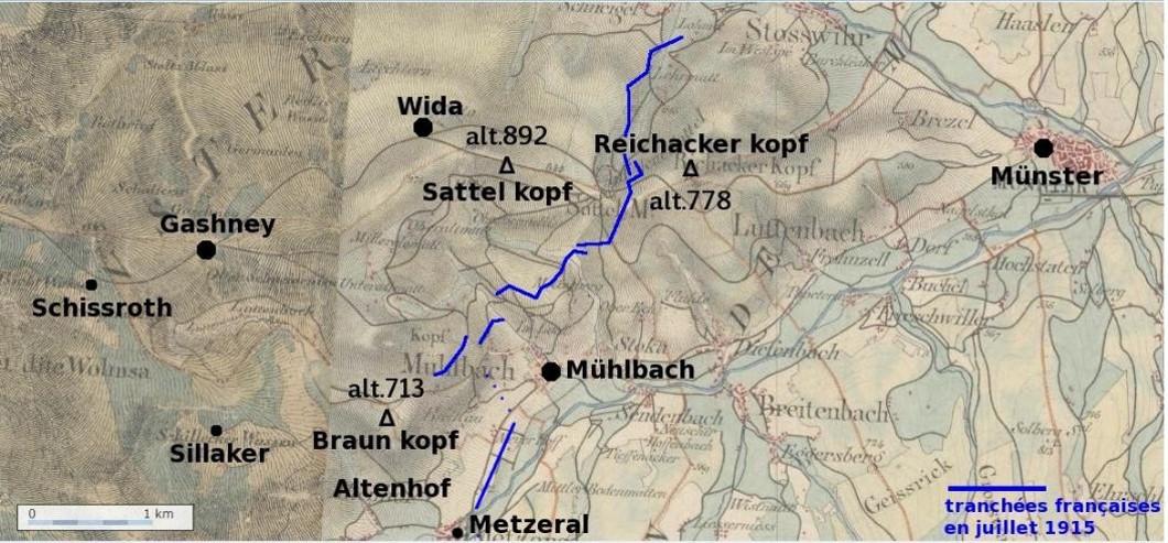 Tranchées françaises en juillet 1915. Carte de la région de Munster ; Metzeral en bas, au sud-ouest de Munster (Site didierbach.free.fr)