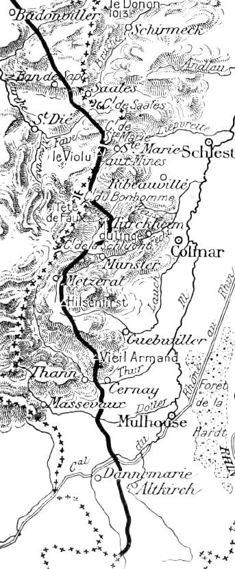 Carte du front dans les Vosges en 1915 après la fin de la guerre de mouvement ; Hilsenfirst, juste au sud de Metzeral et au nord du Vieil Armand ou Hartmannswillerkopf (site commos.wikimedia.org)