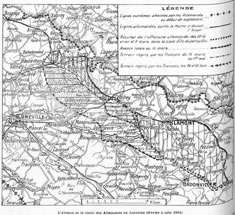 Fronts de LORRAINE : l'avance et le recul des Allemands en Lorraine de février à juin 1915