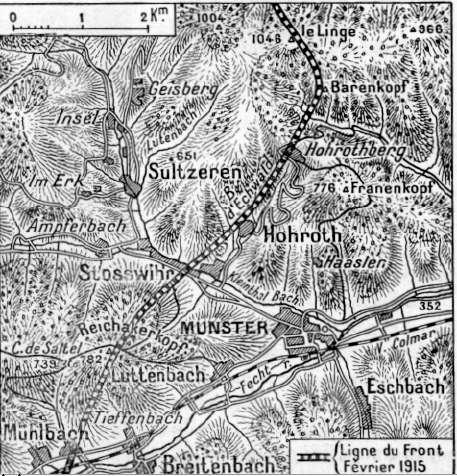 Ligne du front en février 1915 dans la région de Munster : le Reichackerkopf, en bas à gauche, Sultzeren, au centre, col de Sattel, à l'ouest du Reichackerkopf ; le Barenkopf et le Linge en haut à droite (site chtimiste)