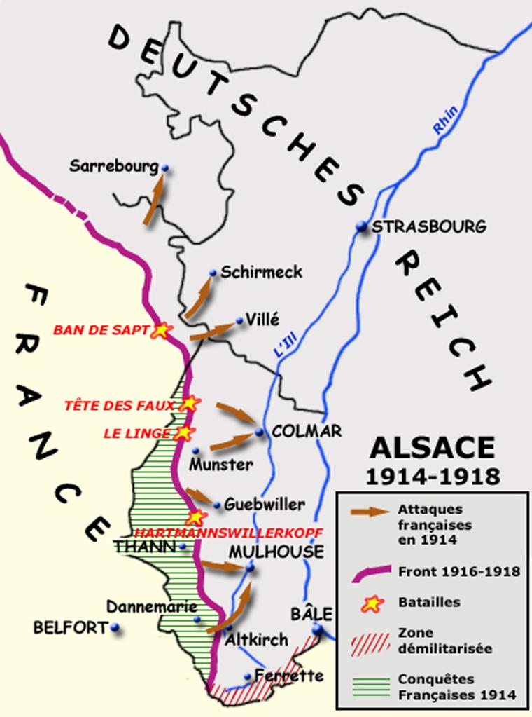 Carte de l'Alsace : attaques françaises en 1914, principaux lieux de bataille, front en 1916-1918 (Site encyclopedie.beditions.fr)