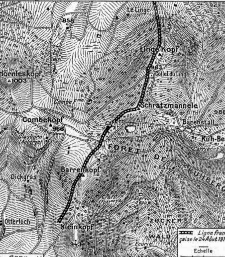 Carte tirée du journal l'Illustration : Combe-kopf à gauche