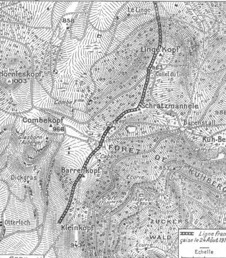 Carte du front le 24 août 1915 Le Linge (site artois1418.skyrock.com)