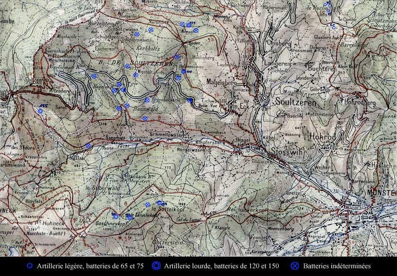Carte des positions connues de l'artillerie établie par Daniel ROESS. Bataille du Linge 1915 - 63ème RAAA Poste 1/2 fixe 96 ; Eck, Soultzeren, Buchteren à droite (site alsace1418.fr)