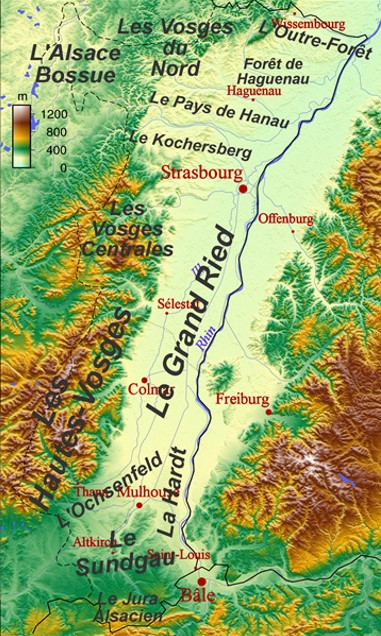 Carte d'Alsace et des Hautes-Vosges (site Wikipedia art. War 1 Memorials and cemeteries in Alsace)