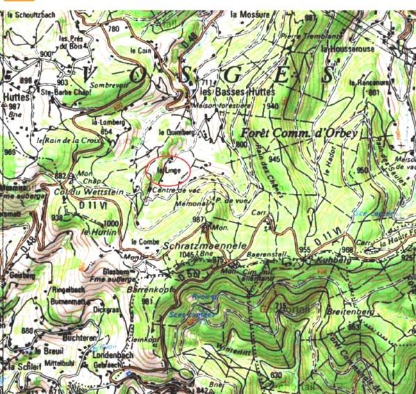 Le Barrenkopf et le Schratzmannele, en bas à gauche (site saint-gervais-guerre-14-18)