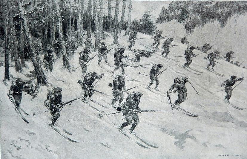 Les chasseurs alpins dans les Vosges : « Chaussés de skis, ils font sur les pentes neigeuses des charges foudroyantes à la baïonnette. », dessin de Leven et Lemonier publié dans le journal L'Illustration du 1er septembre 1915 (Doc. J.P. Morin)