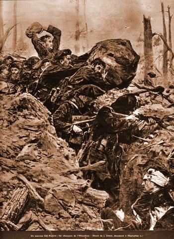 """""""Un nouveau Sidi Brahim : les chasseurs de l'Hilsenfirst"""", dessin de José Simont publié dans le journal L'Illustration N°3778 le 31 juillet 1915 (site lalsace.fr)"""