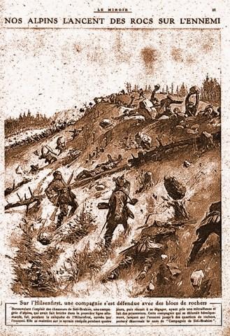 « Nos alpins lancent des rocs sur l'ennemi », dessin de Carrey (journal Le Miroir, 11, N° 88. Le DIMANCHE Ier Août 1915). (Site gallica.bnf.fr)