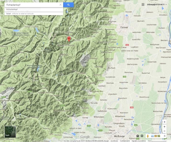 Munster et sa vallée, à l'ouest de Colmar (Google earth)