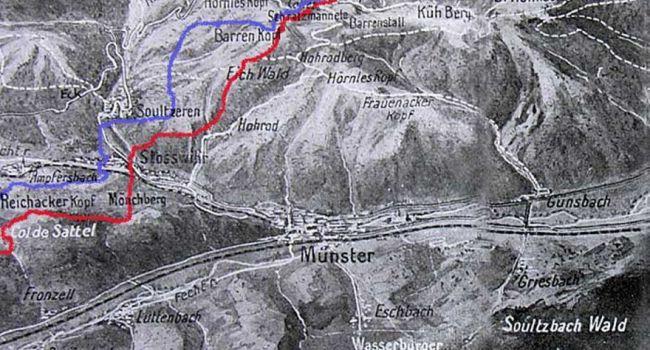 Carte de la région de Soultzeren, à gauche, et Barrenkopf, en haut (site ladepeche.fr)