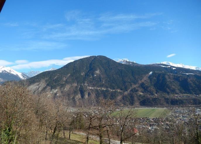 Le massif de Tête Noire et la nouvelle piste forestière EDF de Passy, 18 mars 2014 (cliché Bernard Théry)