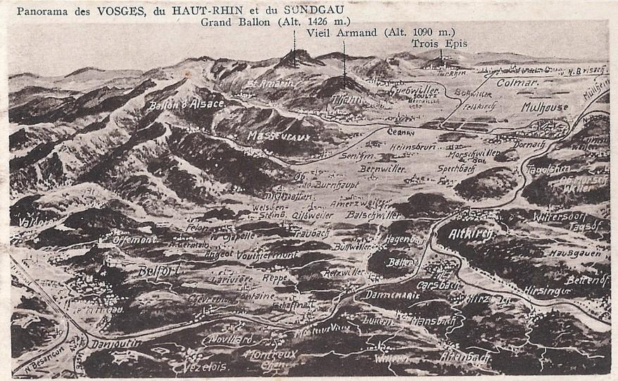 Panorama des Vosges et du Haut-Rhin ; le Vieil Armand (Hartmannswillerkopf), en haut (site tim-slater.blogpost.fr)