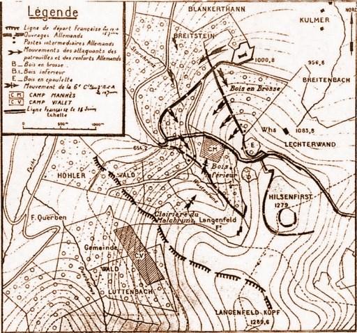 Carte du secteur de l'Hilsenfirst le 16 juin 1915, à droite ; le Bois inférieur au centre ; CM = camp Manhès (site militariacollec.free.fr)