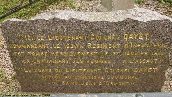 Plaque commémorant la mort du Lt-Colonel Dayet le 27 janvier 1915 (site pierreswesternfront.punt.nl)