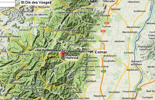 Situation géographique du Linge dans le massif des Hautes Vosges : 1914 02 Le Linge et L'Hartmannswillerkopf (site taulignan14-18)