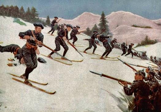 Les chasseurs skieurs reprennent la ferme de Sudel, 12 février 1915 (Site aufildesmotsetdelhistoire.unblog.fr)