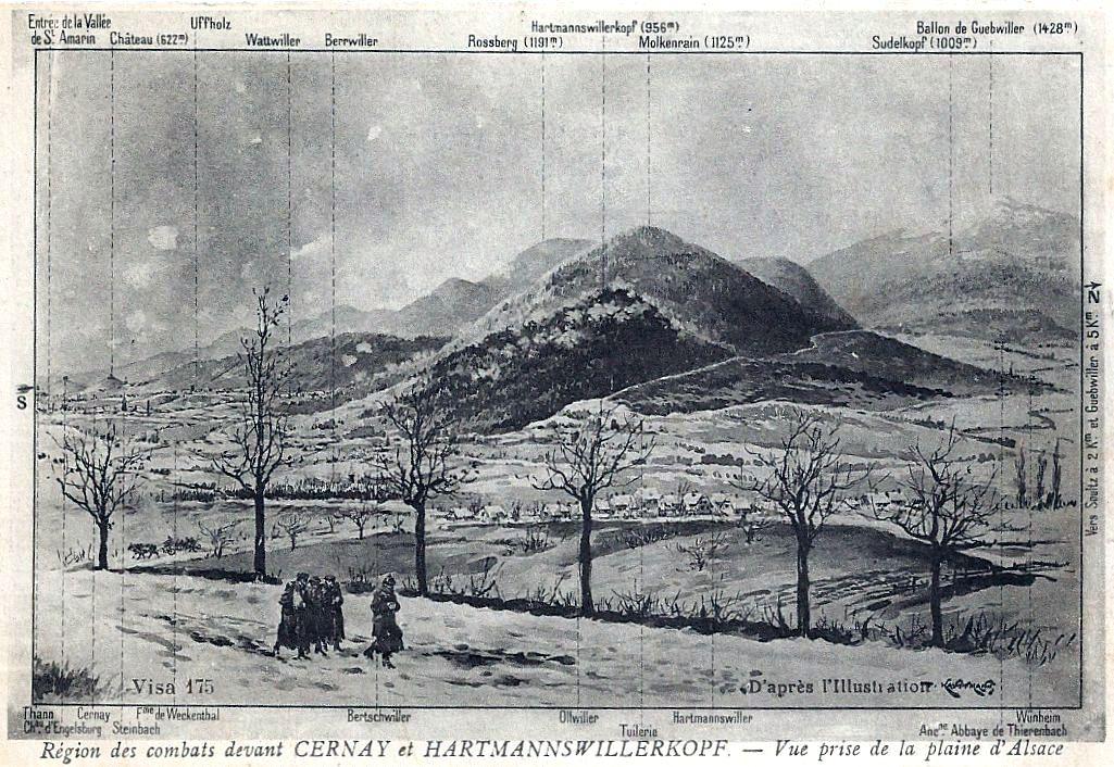 Région des combats devant Cernay et l'Hartmannswillerkopf. Vue prise de la plaine d'Alsace, d'après l'Illustration (site thebluelinefrontier.com)