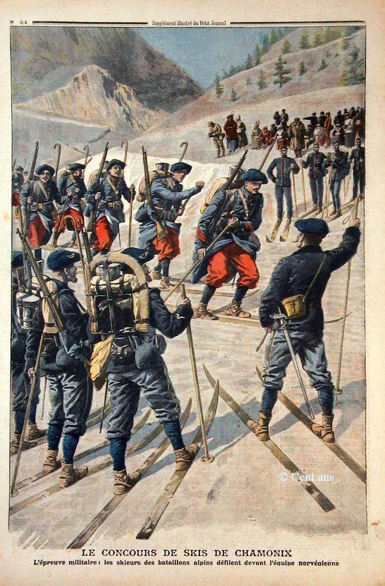 L'épreuve militaire : les skieurs des bataillons alpins défilent devant l'équipe norvégienne, Le Petit Journal illustré du 19 Janvier 1908 (site cent.ans.free.fr)