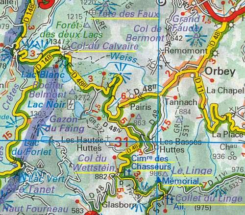 Les lacs Noir et Blanc ; le collet du Linge, en bas à droite (site pierreswesternfront.punt.nl)