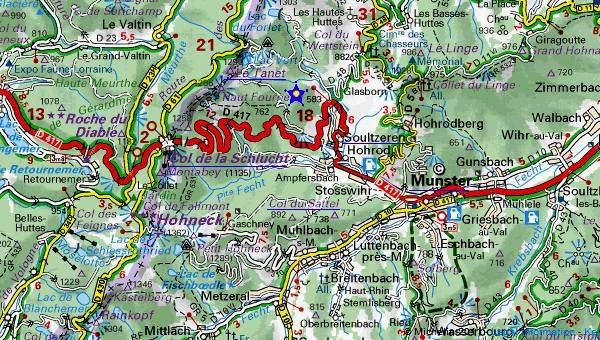 Environs de Munster : col de la Schlucht (à gauche), col du Sattel (au centre, au sud de Soultzeren)