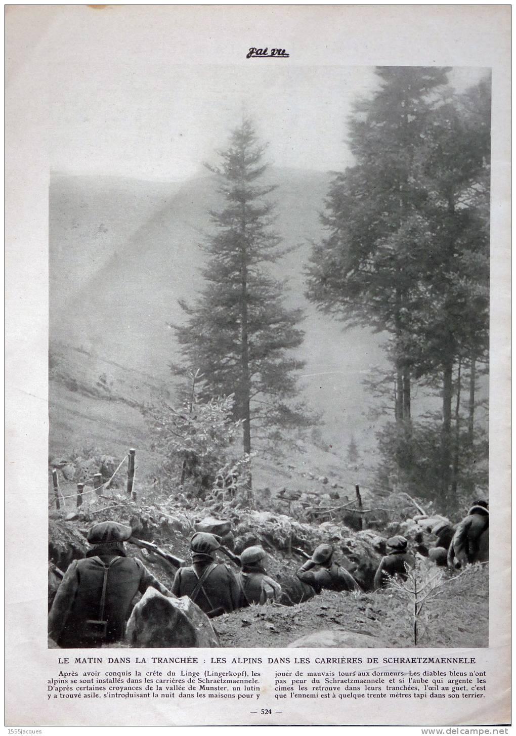 Le matin dans les tranchées : les Alpins dans les carrières de Schraetzmaennele (site images-01.delcampe-static.net)
