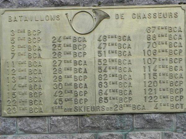 Nécropole nationale Le Wettstein, cimetière des Chasseurs, plaque des chasseurs, dont celle du 11e BCA (site artois1418.skyrock.com)